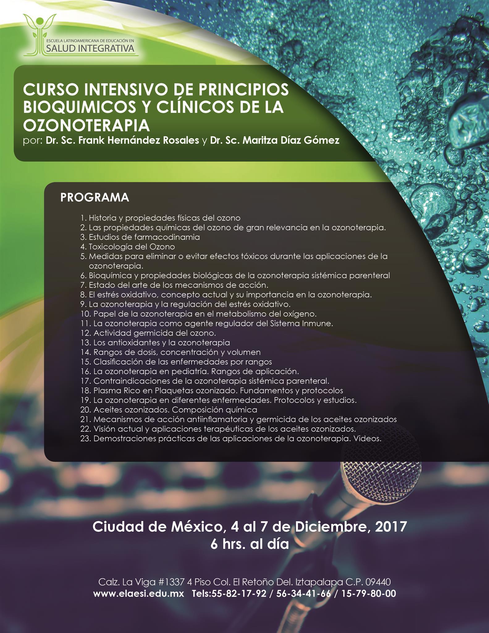 CURSO INTENSIVO DE PRINCIPIOS BIOQUÍMICOS Y CLÍNICOS DE LA OZONOTERAPIA